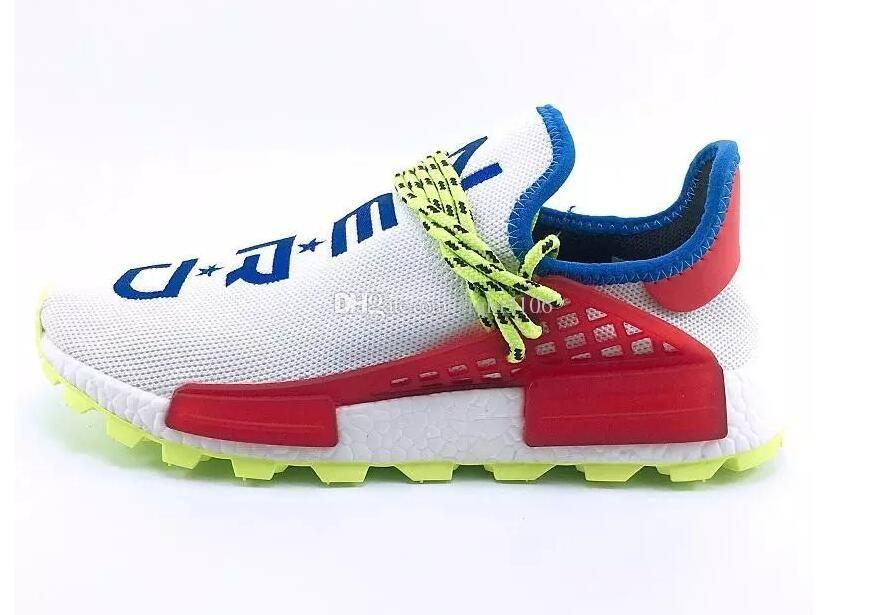 Hu trail x pharrell williams Nerd hombres Raza humana zapatos casuales negro blanco crema SOLAR PACK Zapatillas de deporte para hombre para mujer