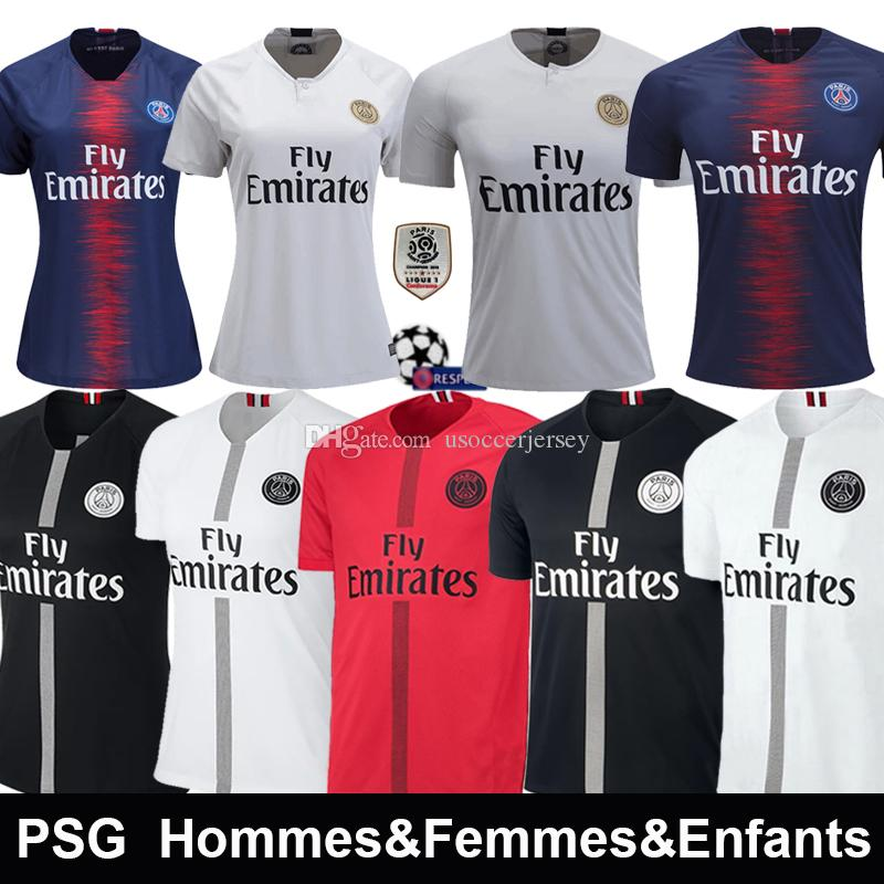 outlet store b4080 59a81 psg Black white maillot 3rd T shirt Soccer jerseys VERRATTI Maillot de foot  MBAPPE CAVANI Jersey 18 19 football kits soccer shirt
