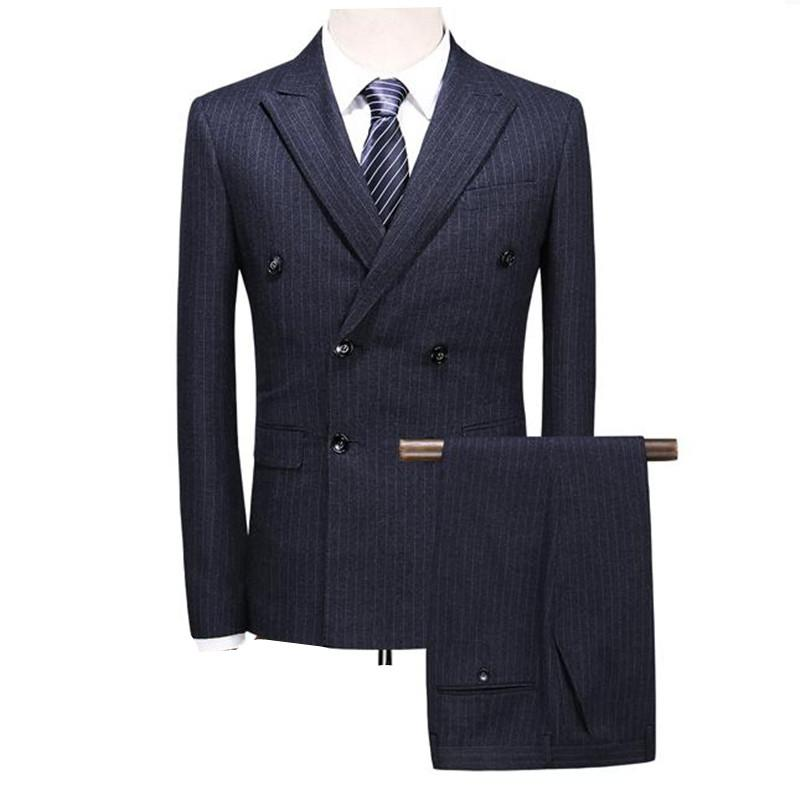 2019 Double Breasted Suit 2019 Mens Slim Fit Grey Navy Blue Mens