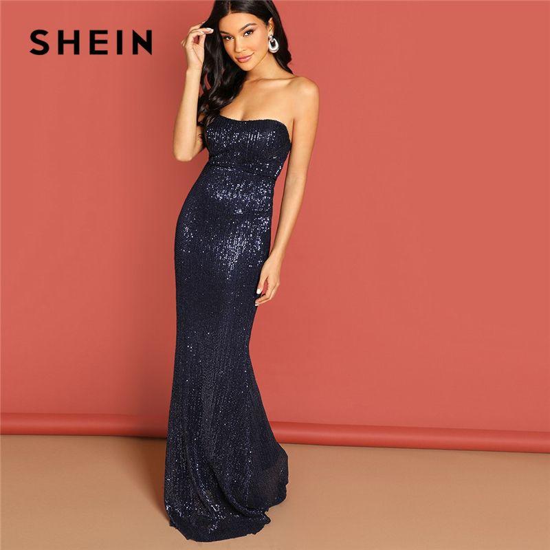 b0ec65bdc8 Shein Navy Elegant Sequin Mesh Strapless Bodycon Evening Gown High Waist  Zipper Back Solid 2019 Summer Women Party Dresses Q190417 Womens Dress  Elegant ...