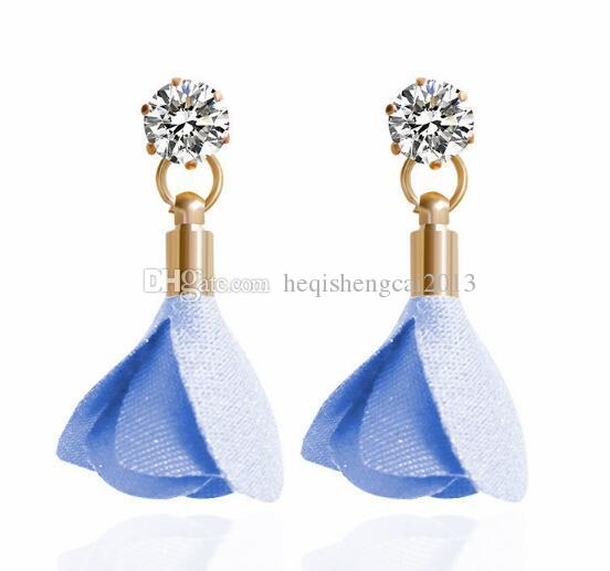 free shipping Korea cloth art petal flower temperament ear nail female restore ancient ways round get fashionable and classic delicate and e