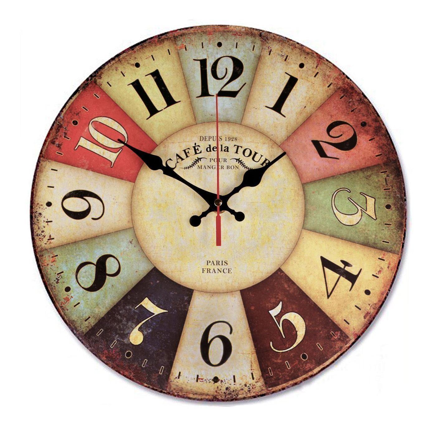 Décor de ferme d'horloge murale en bois rétro de 12 pouces, horloges murales grand décoratif silencieux - Big Wood Atomic Analog Batt