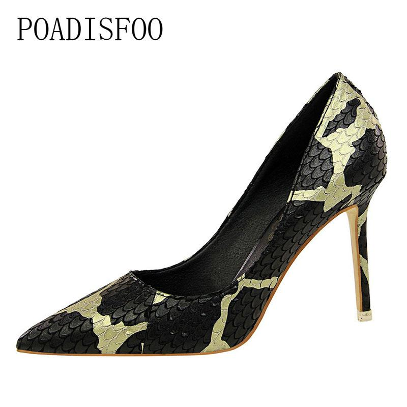8161308e6083 2019 POADISFOO Retro High Heeled Shoes High Heeled Shallow Mouth Pointed  Sexy Nightclub Thin Mixed Color Snakeskin Shoes .DS 516 19 Tennis Shoes  Oxford ...