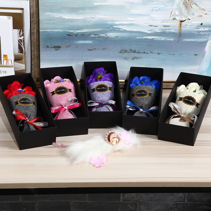 5pcs Rose Soap Flower Box To Send Girlfriend Birthday Gift Valentines Gifts New Years Day Party Home Decoration Q190606