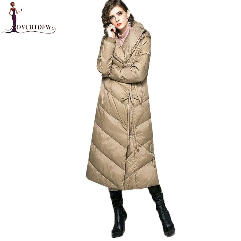 f2ae35307 2018 Autumn Winter New Ultra long Down Jacket Women Warm Hooded parkas  Fashion Belt Female Elegant Casual Outerwear Coats NO681
