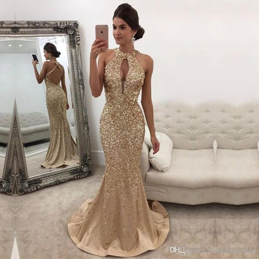 2019 O-Neck Satin Mermaid Long Evening Dresses Backless Heavy Beaded Crystals Formal Evening Gowns Vestido De Noche Prom Party Dresses