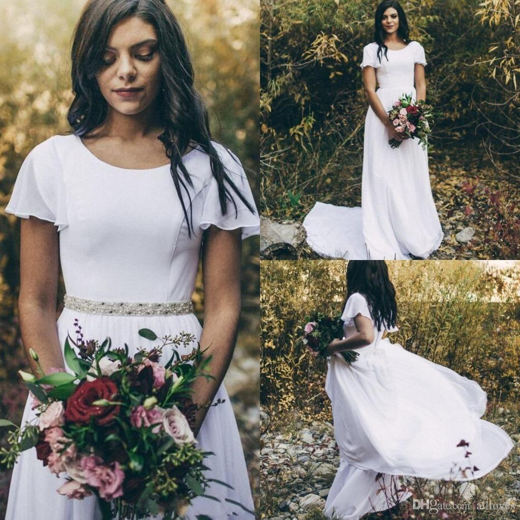 Country Western A Line Cheap Chiffon Bridal Gowns Beaded: Discount 2020 Chiffon A Line Simple Boho Country Wedding