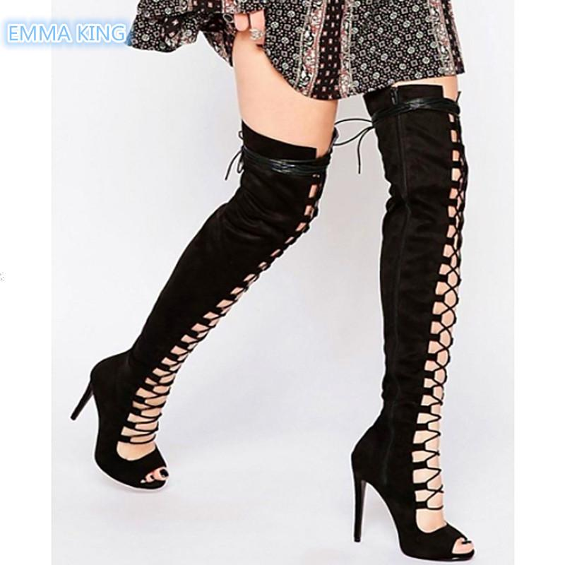 f26eac8cac3 Spring Autumn New Sexy Lace Up Over Knee Boots Women Peep Toe Stilettos  Fashion Thigh High Boots Hollow Roman High Heels Shoes Grey Boots Brown  Ankle Boots ...