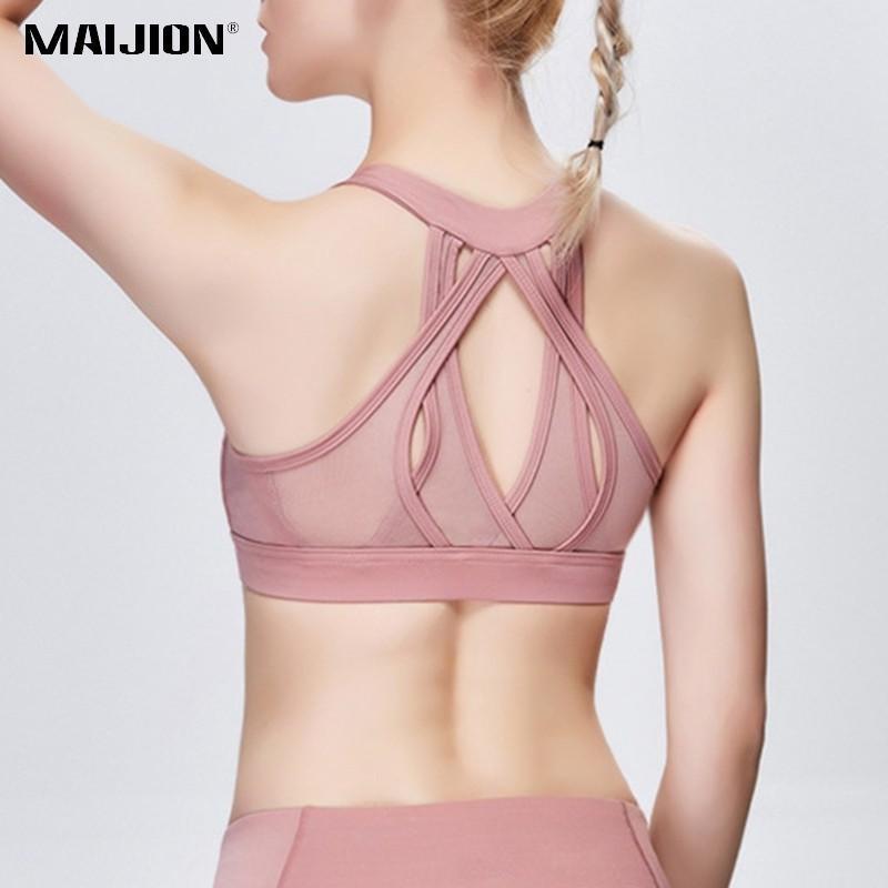 e398268ec15b9 2019 MAIJION Cross Straps Sport Bra Padded Women Shockproof Elastic Fitness  Tops Ladies Push Up Bra For Gym Soft Breathable Yoga Vest From Ahaheng