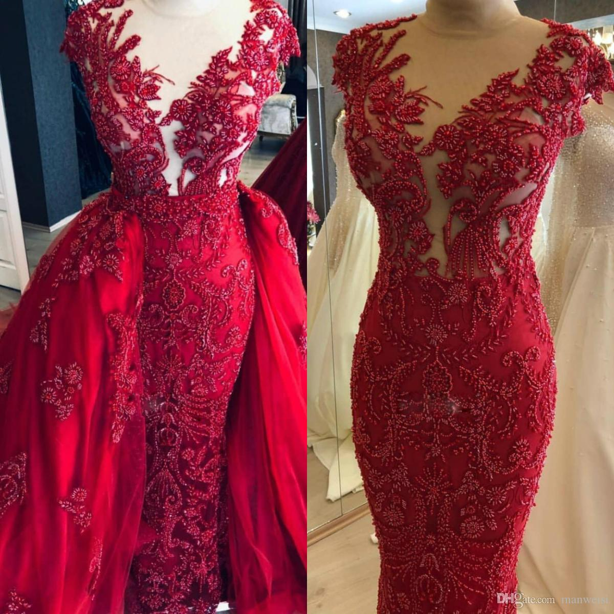 Arabic 2020 Dark Red Luxurious Evening Dresses Lace Beaded Mermaid Prom Dresses Detachable Train Tulle Formal Wears