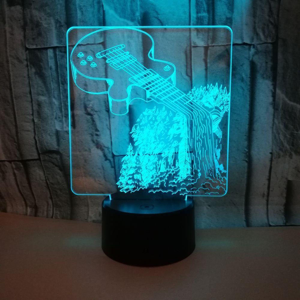 New Pattern Guitar 3d Small Desk Lamp Colorful Touch Led Vision Lamp Gift Atmosphere 3d Small Night-light Customized