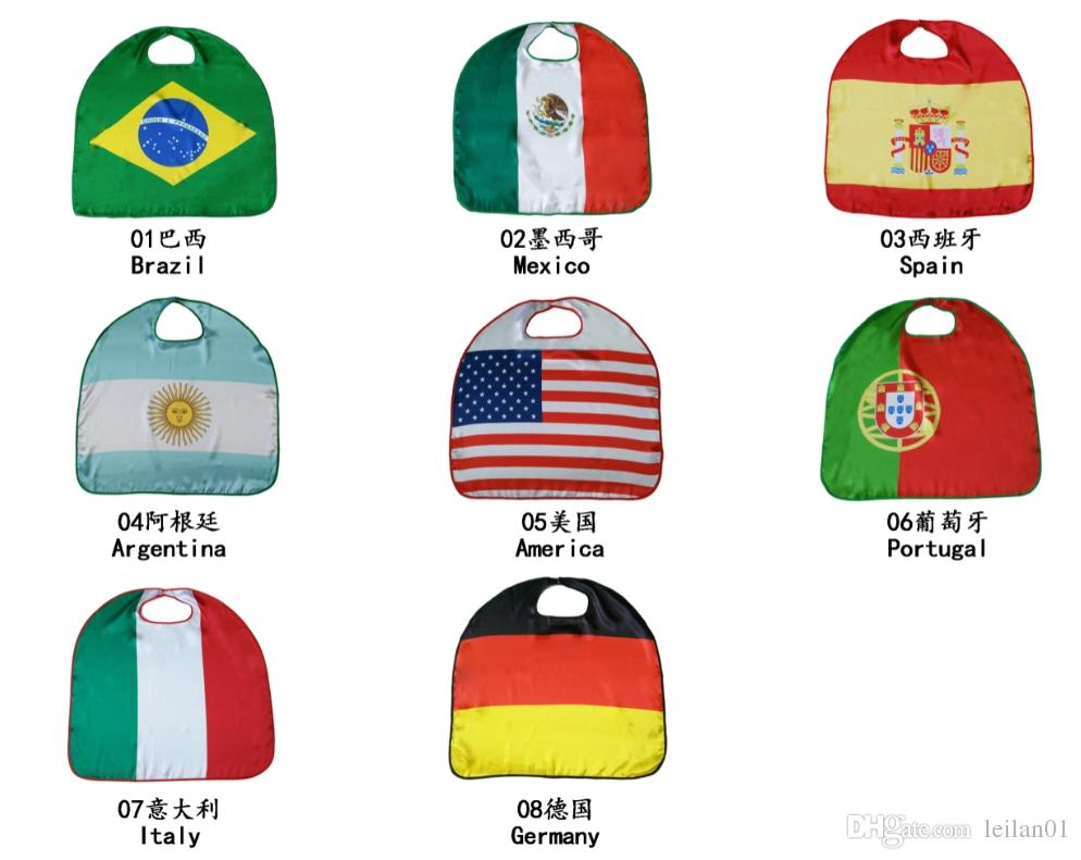 27inch 2018 World Cup National Flag Satin Banner Flags Cloak Football Team Costume Cape USA Italy Germany Flag Cloak Clothing for Kids