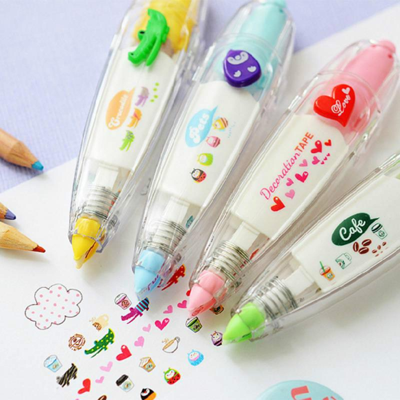 60PCS Lace Press Type Stationery Tapes Decorative Pen Correction Tape Diary Scrapbooking Album Stationery Gifts School Supplies AIJILE