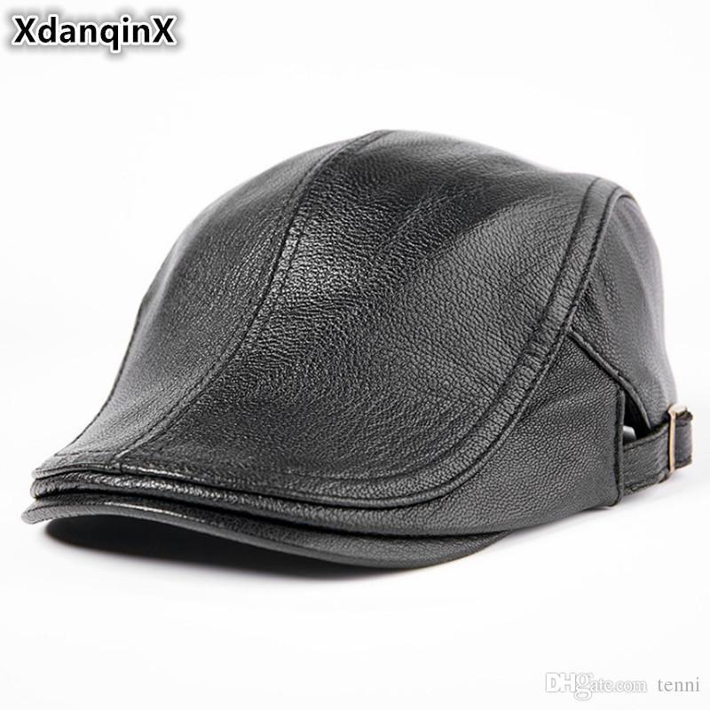51fb10ff2a7 XdanqinX Men s Autumn Winter Hats Genuine Leather Sheepskin Warm ...