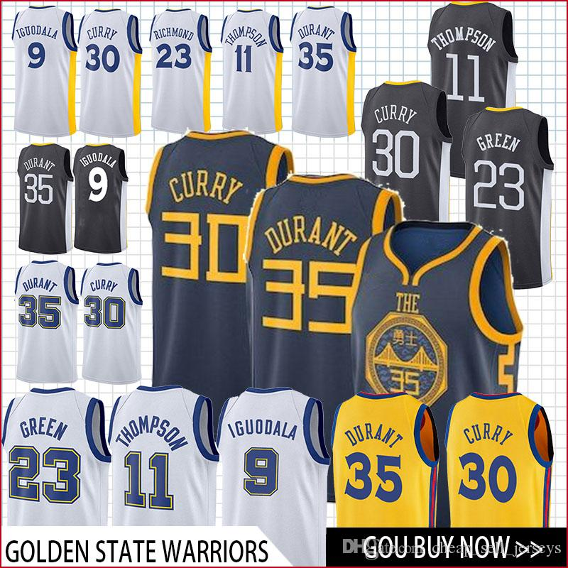 4efb23f4408 2019 New 2019 30 Curry 35 Durant 23 Green 11 Thompson 9 Lguodala Basketball  Jersey Men Fans Clothes Printed Top From Cheap sell jerseys