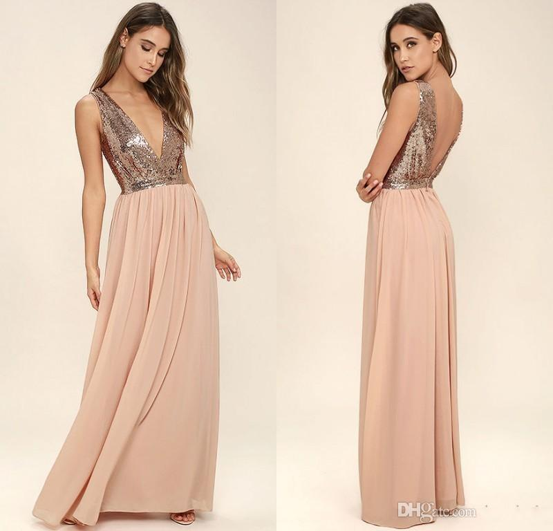 9ae80ec0c970 2018 New Rose Gold Bridesmaid Dresses Sequins Chiffon Backless Floor Length  Maid Of Honor Dress Cheap Prom Party Gowns Sangria Bridesmaid Dresses Short  ...