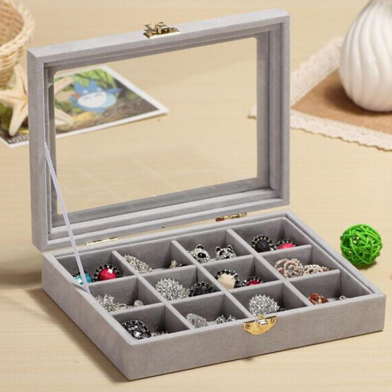 12/24 Grids Organizer Velvet Glass Jewelry Display Box Ring Organizer Case Tray Holder Earring Storage