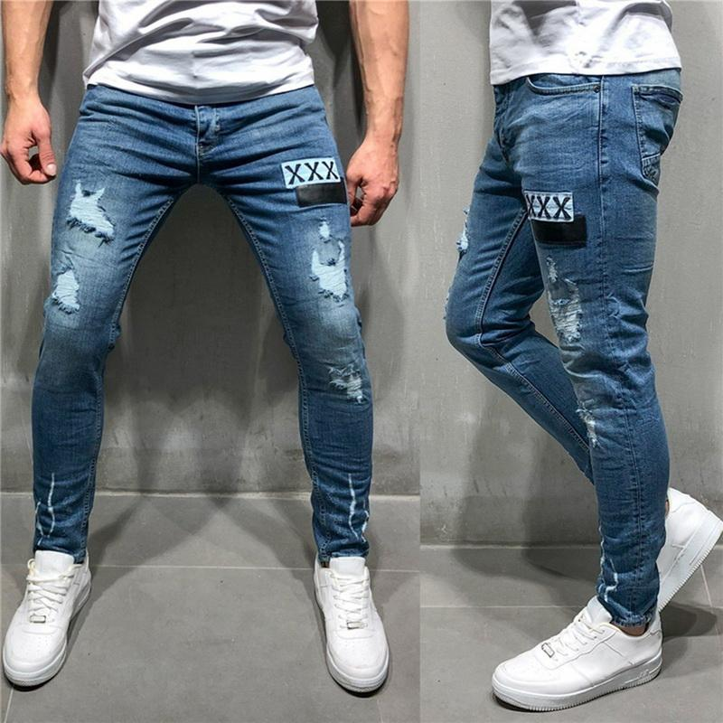 WENYUJH Men Stretchy Ripped Skinny Biker Embroidery Print Jeans Destroyed Hole Taped Slim Fit Denim Scratched High Quality Jean