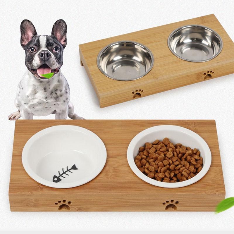 Metal Cat Dog Pet Food Bowls Feed Dishes Elevated Stand Dishes, Feeders & Fountains Cat Supplies