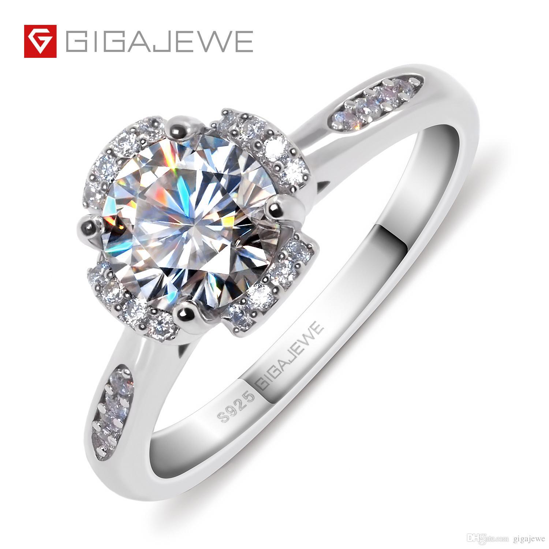 0a84b62aa0dd Anillo de compromiso de trébol de cuatro hojas, color plata 925 / oro de 18  quilates, 1.0Ct F, anillo de Moissanite, anillo de compromiso único, ...
