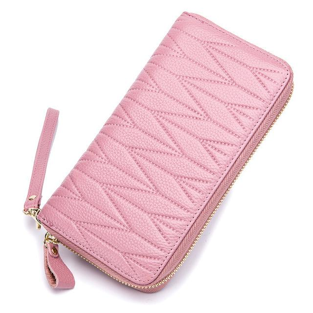 new high quality genuine leather Fashion woman long wallet leather card holders gift rfid 20*3.5*11cm PL-A098