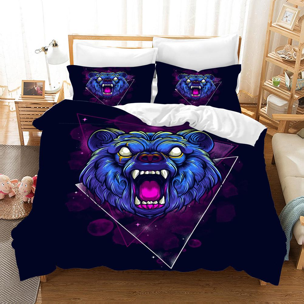 Trend Animal 3d Bedding Set Duvet Covers Pillowcase Wolf Tiger Bear Children Room Comforter Bedding Sets Bedclothes Bed Linen