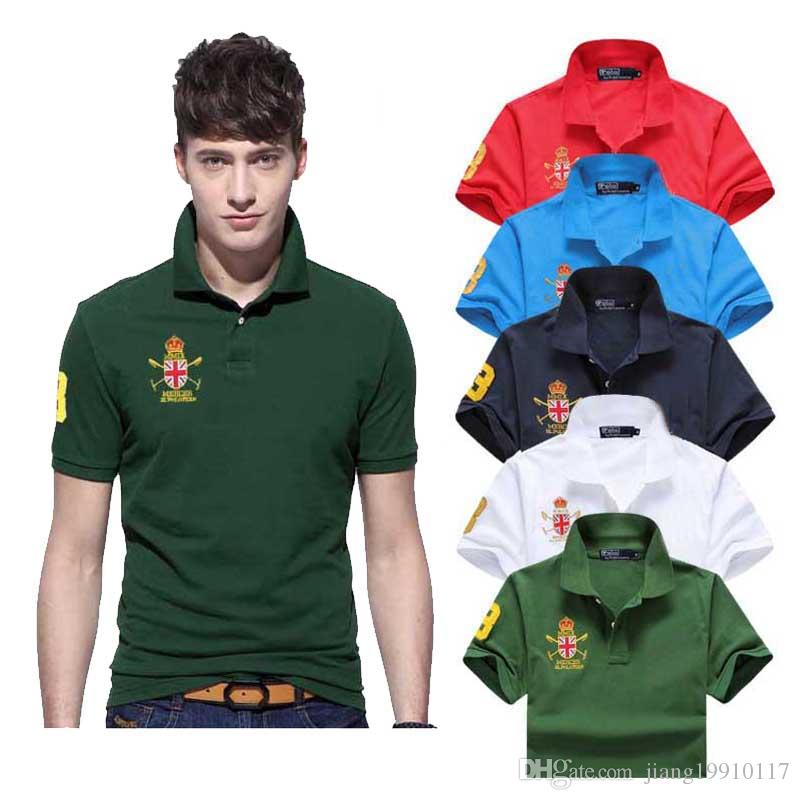 2019 summer embroidery men's polo shirt men's short-sleeved casual fashion polo shirt men's solid color lapel polo shirt