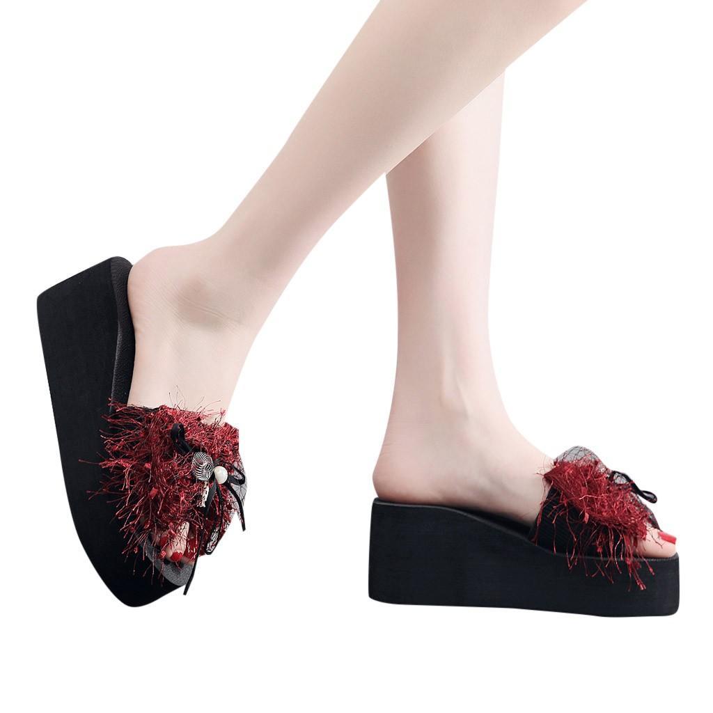 Acquista Donne Zeppa Perla Scivoli Home Bagno Schiaffo W Spiaggia Zapatos  De Mujer Elegantes Super Moda Infradito Scarpe Da Spiaggia Pantofole   78 A   28.46 ... 45460a86674