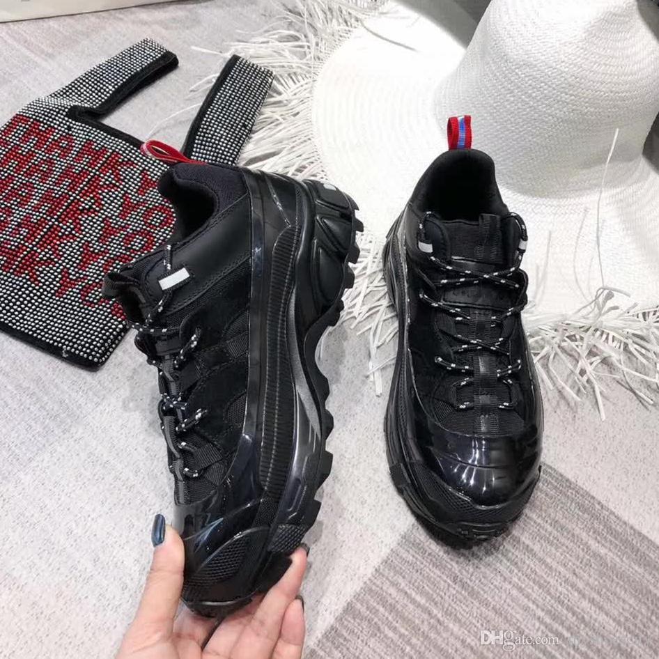 tamaño de 35 a 44 con la caja de la parte superior de la plataforma de grado zapatillas de deporte de diseño zapatos de cuero genuinos amantes de las mujeres de los hombres zapatos casuales de diseñadores de lujo