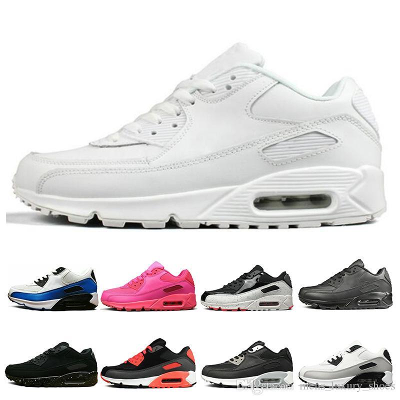 nike air max 90 Pas cher Triple Blanc Noir Jaune Hommes Chaussures De Course Chaussures Gris Rose Hommes Baskets Coussin Surface Respirant Sport