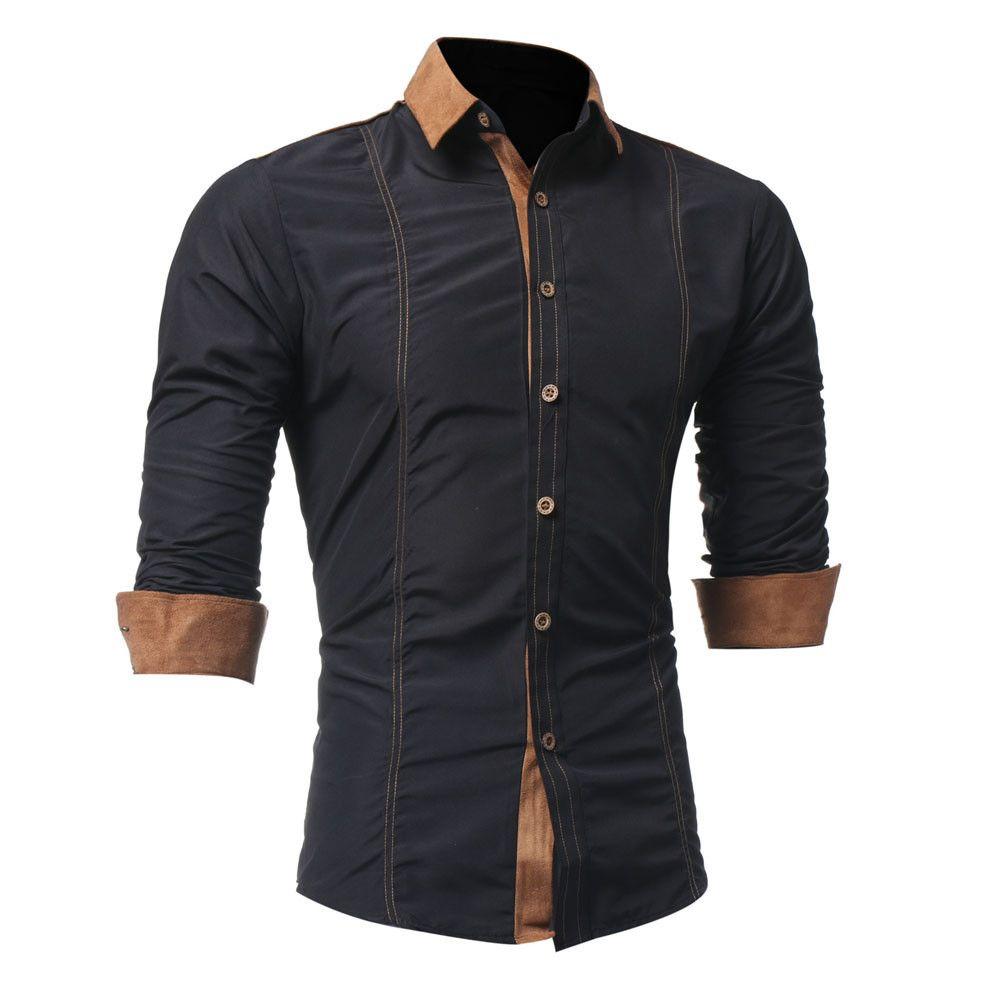 07dfeb8970ab2 Compre Tallas Grandes 4xl Camisa De Hombre De Manga Larga Streetwear Negro  Para Hombre Camisas Casual Slim Fit Solid Ropa Para Hombre 2019 Camisa  Hombre ...