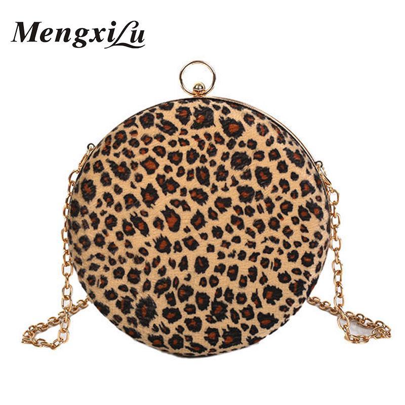 Ladies Christmas Gifts.Mengxilu Christmas Gifts Women Crossbody Winter Handbags Luxury Leopard Small Circular Ladies Shoulder Bag Chian Soft Velour Sac