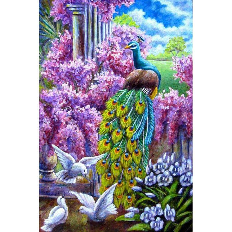 2019 3d Diamond Painting Flowers Peacock Pigeon Diamond