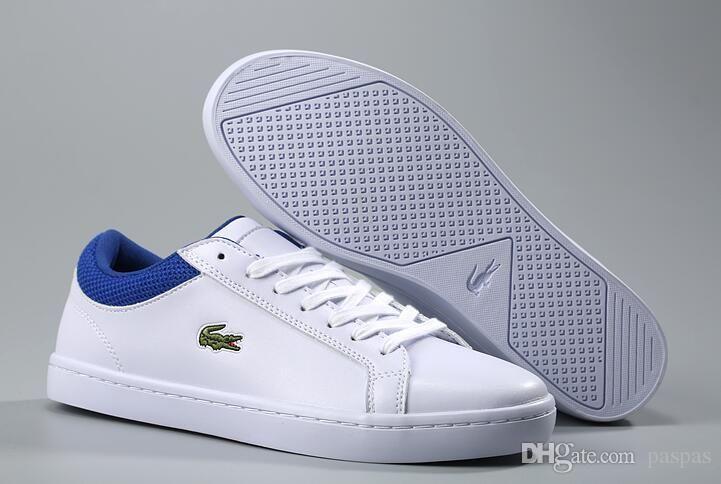a76e257264c Compre LACOSTE Clássico Da Moda Sapatos Casuais Sapatos Casuais Boa  Qualidade Designer De Homens Skate Boarding Sneakers Sapatos De Couro Dos  Homens Sem ...