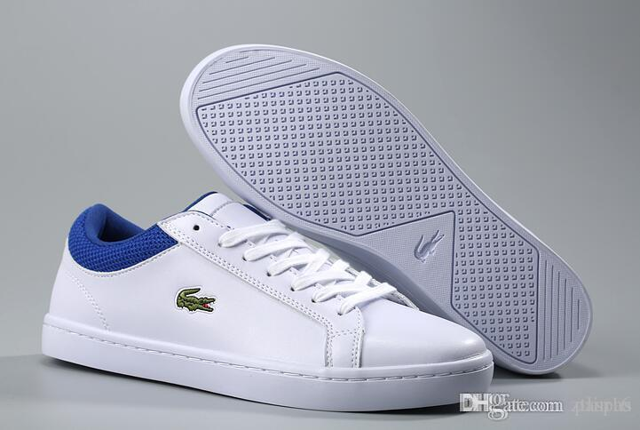 be18b4a8b3e Acheter LACOSTE Mode Chaussures Classiques De Base Casual Chaussures Bonne  Qualité Designer Hommes Skate Boarding Baskets Chaussures En Cuir Pour  Hommes ...