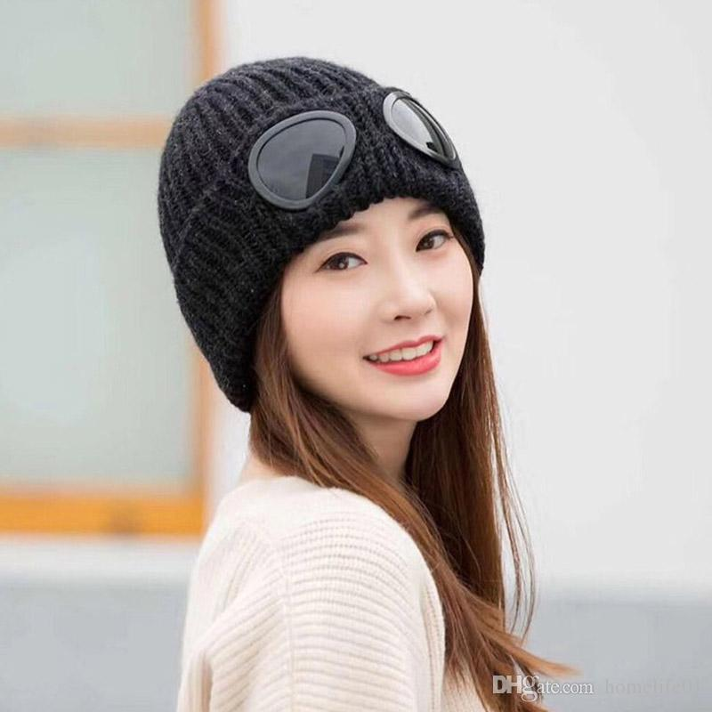Thickened Winter Goggles Knitted Hat Warm Beanies Skullies Ski Cap ... e58774ec467