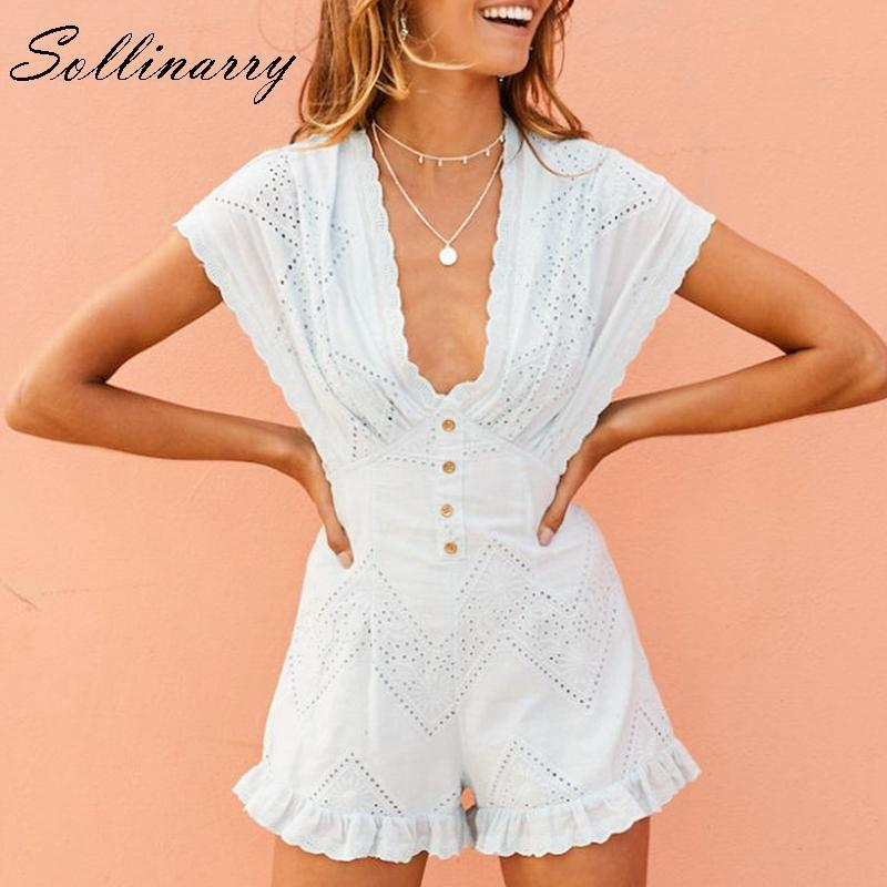 673ed32a3ca Sollinarry White Embroidery Summer Jumpsuit Women Casual Lace Boho ...