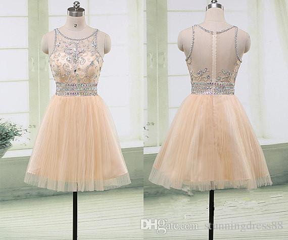 8ecd7a6a50 Luxury Champagne Short Cheap 2019 Homecoming Prom Dresses Sheer Neck Bling  Crystal Beaded Hollow Back Real Graduation Party Dress Cheap Girl Homecoming  ...