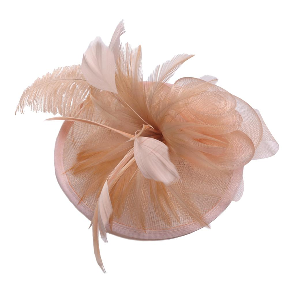 Bride Hat Decorative Stylish Ostrich Flaxen British Elegant Party Wedding Photography Banquet Hat Cap Headdress Prop