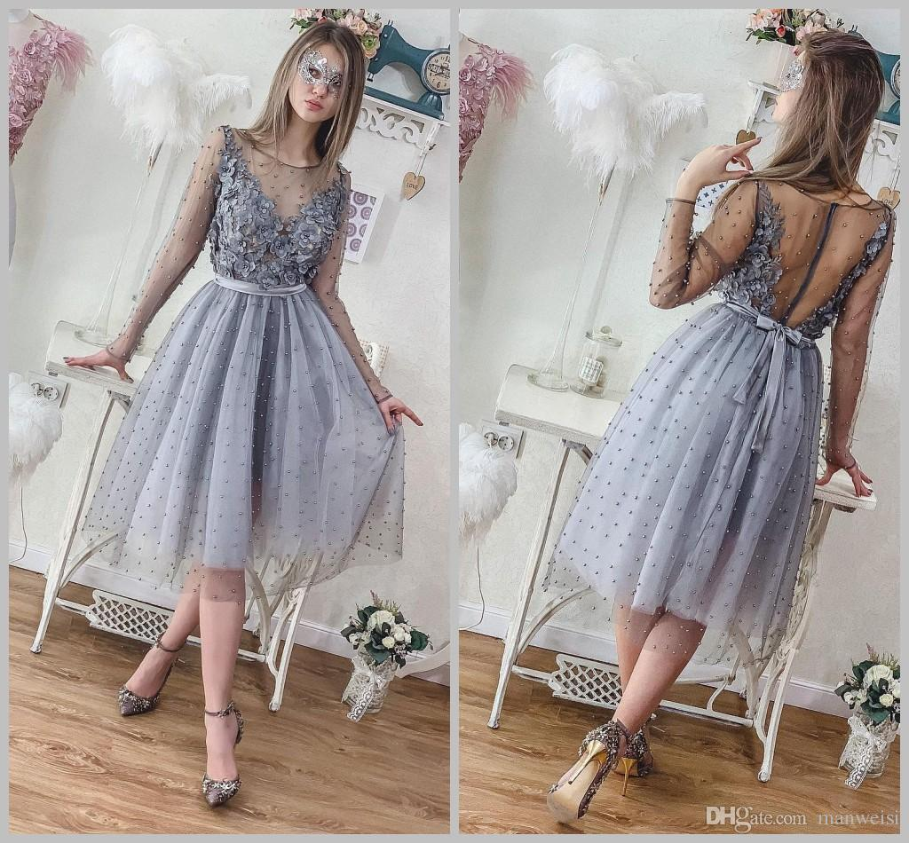 2019 Short Silver Grey Pearls Homecoming Dresses Long Sleeve Lace ... 3c7a3214b