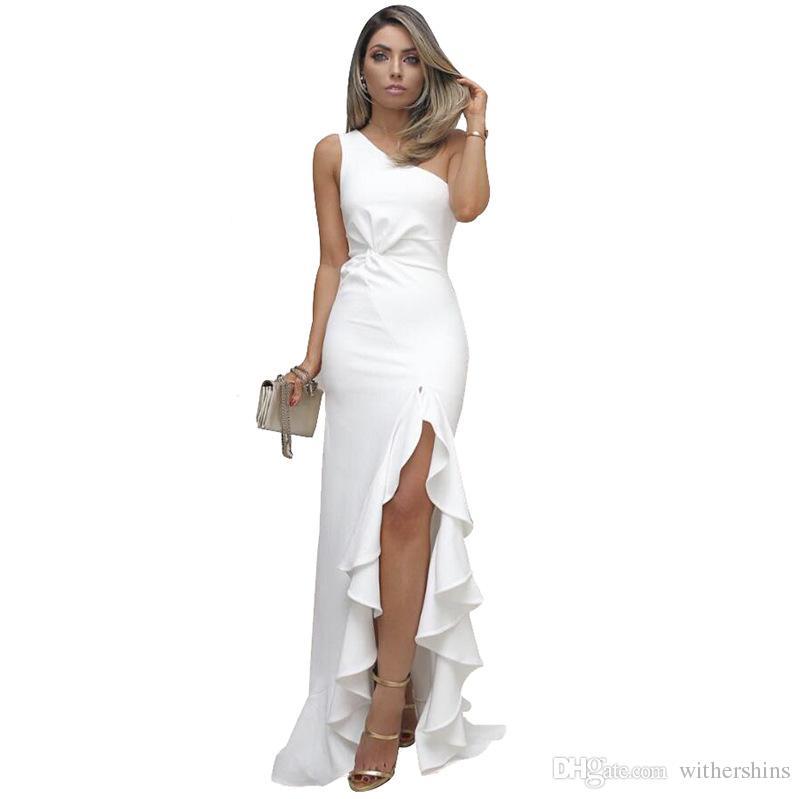 86284f961599 Acquista 2019 Donne Della Molla Elegante Sexy Solido Bianco Cocktail Midi  Abiti Asimmetrici Una Spalla Increspato Vestito Da Partito Formale  Irregolare A ...