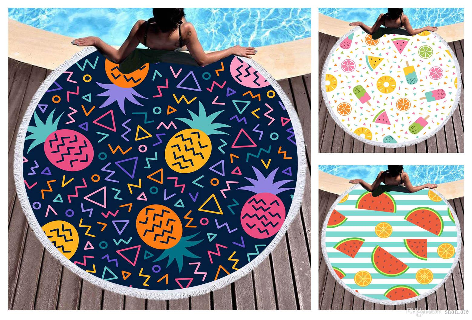 Free shipping Novelty Summer Fruit Pineapple Watermelon Orange Geometric Pattern Big Round Pool Beach Towel Wall Decor Tapestry 150cm/59""