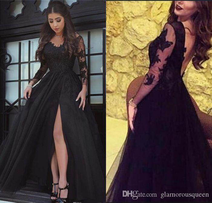 2019 Glamorous Long Sleeve Black Slit Lace Evening Dress Sexy Black