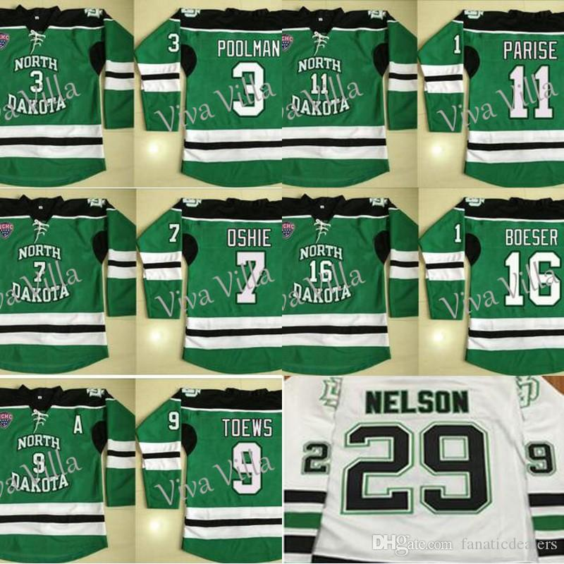 Fighting Sioux Hockey Jersey 7 T.J. Oshie 3 Tucker Poolman 9 Toews 11  Parise 16 Boeser 29 Nelson Stitched Ice Hockey Jersey UK 2019 From  Fanaticdealers 11809fcd0