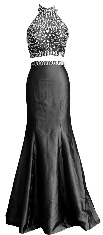 c35f769233 Compre MACloth Mulheres Sexy Sereia Duas Peças De Alta Neck Tafetá De  Cristal Longo Prom Vestido De Festa De Casamento Vestido De Festa De Noite  160194 De ...