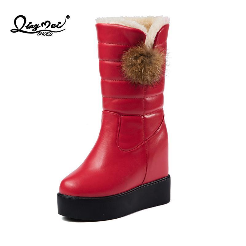f537e31d7 Compre 2018 Nuevas Botas De Piel Rojas Incremento En Altura Zapatos Con  Punta Redonda Mujer Casual De Invierno Botas De Nieve De Media Pantorrilla  Tamaño 35 ...