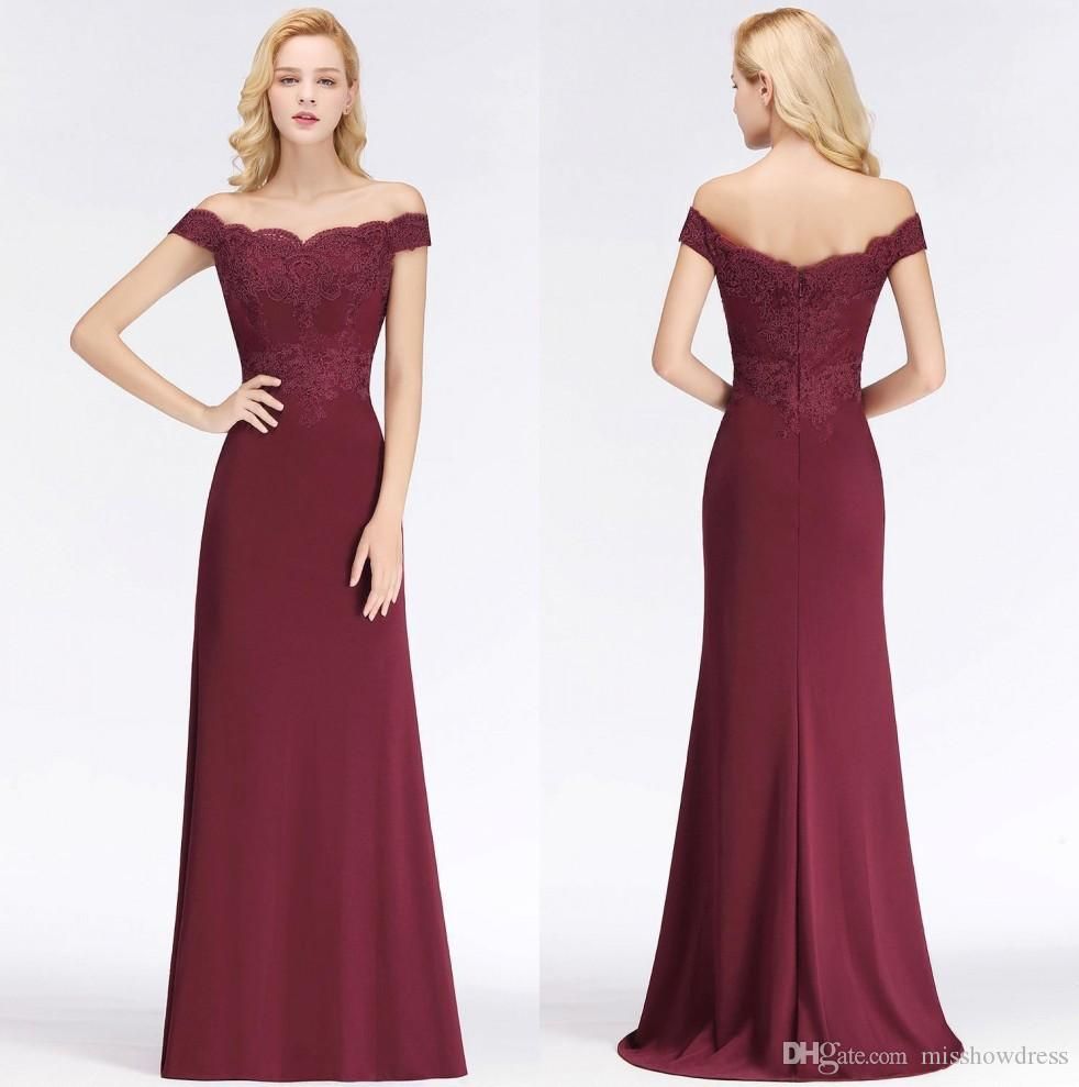 Burgundy Off The Shoulder Satin Mermaid Long Bridesmaid Dresses 2019 Lace Applique Formal Party Wedding Guest Maid Of Honor Dresses Cheap
