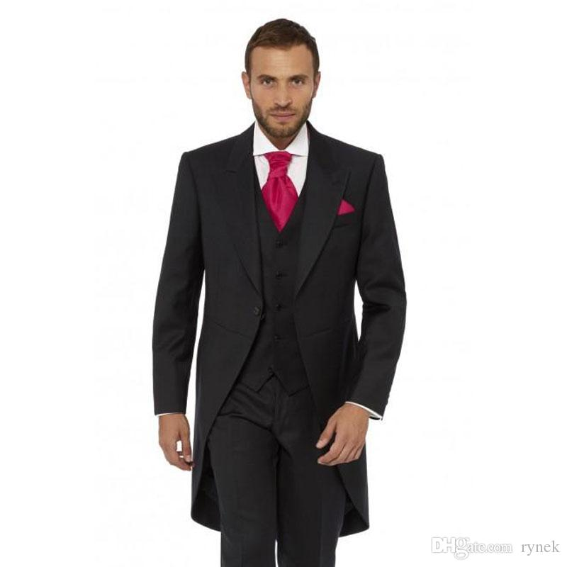 Black Long Jacket Men Suits for Wedding Tailcoat Groom Tuxedos 3Piece Peaked Lapel Latest Coat Pant Designs Terno Masculino trajes de hombre