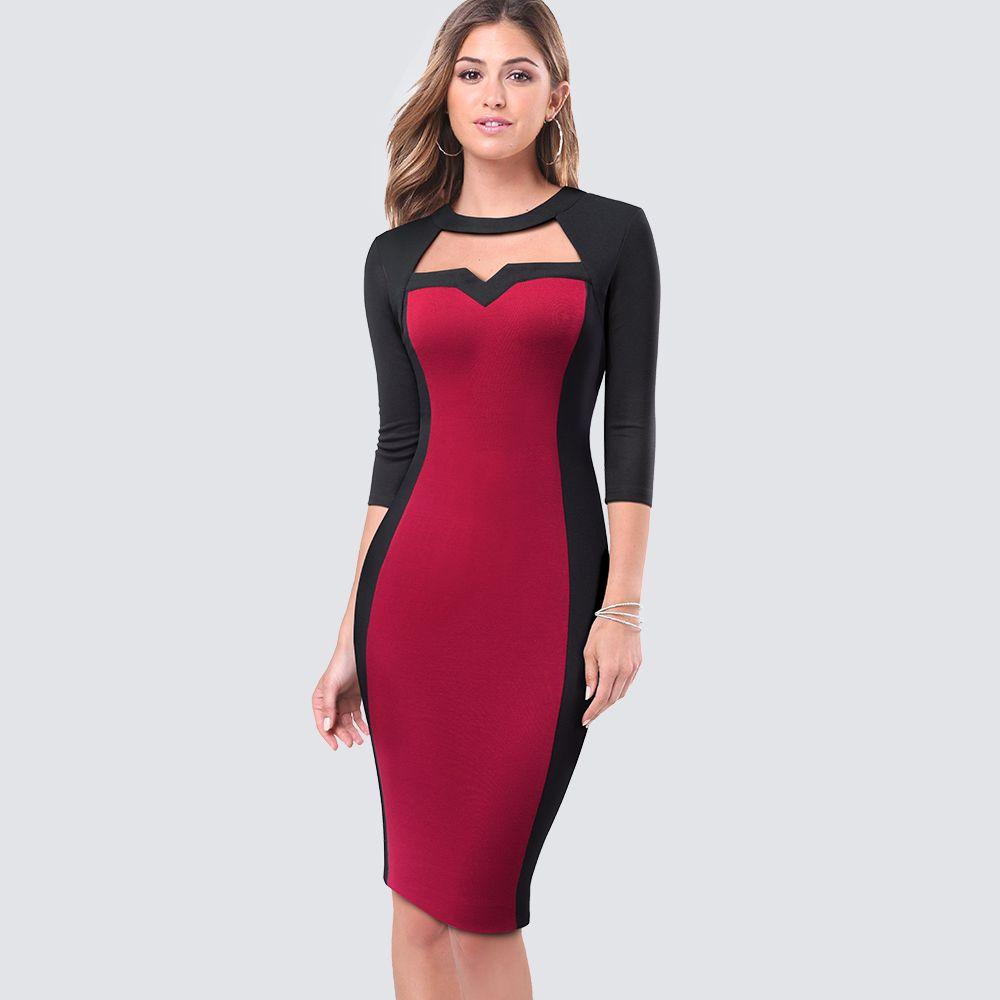 24929480bc2b Acquista Vestito Da Donna Casual Da Ufficio Vestito Da Donna Elegante  Fodero Aderente Sexy Tagliato Da Donna Carriera Vestito A Matita HB482 A   31.9 Dal ...