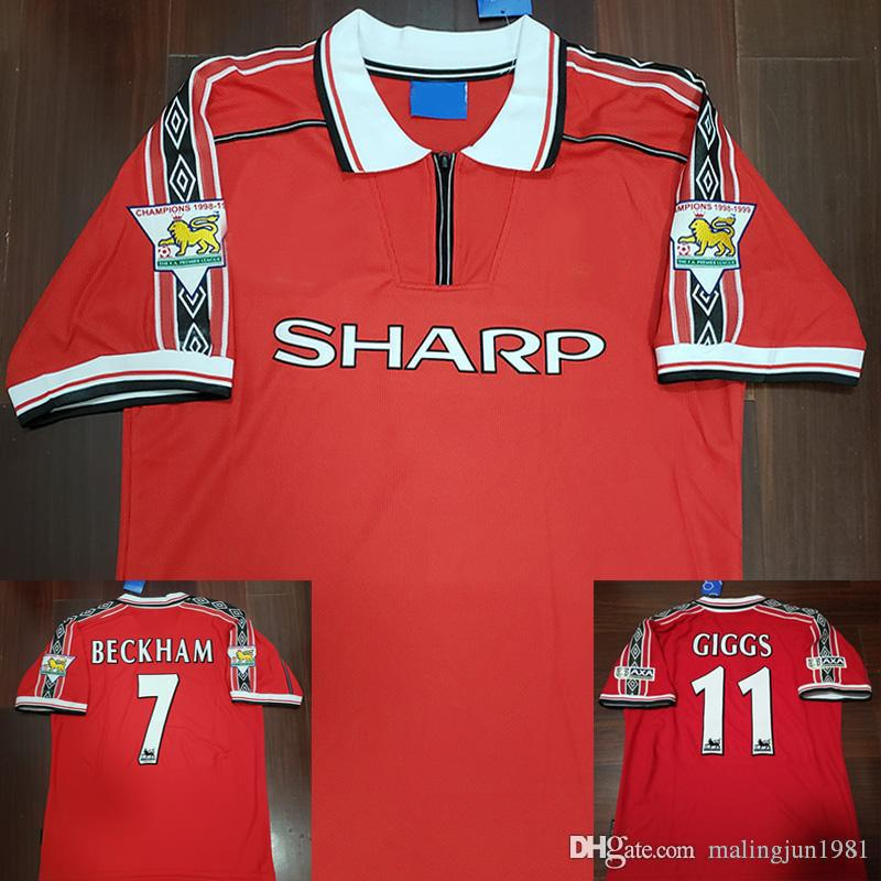 7ff6b63aff8 Manchester United Velvet Nombre Número 98 99 Hombre Beckham Keane Solskjaer  Giggs 3 Champions Retro UTD Camiseta De Fútbol 1998 1999 Classic Football  Shirt ...